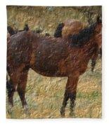 Digital Oil Painting Horses Fleece Blanket