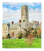 Digital Painting Of University Hall Fleece Blanket