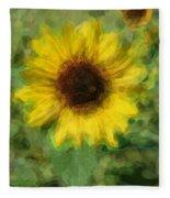Digital Painting Series Sunflower Fleece Blanket