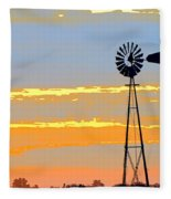 Digital Windmill-horizontal Fleece Blanket