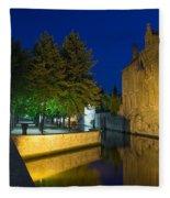 Dijver Canal At Night  Fleece Blanket