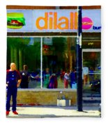 Dilallo Burger Notre Dame Ouest And Charlevoix  Montreal Art Urban Street Scenes Carole Spandau Fleece Blanket