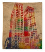 Dime Building Iconic Buildings Of Detroit Watercolor On Worn Canvas Series Number 1 Fleece Blanket