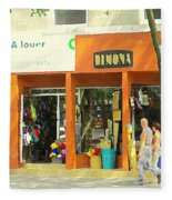 Dimona Latin Quarter Romantic Morning Summer Stroll Pretty Streets Montreal City Scene C Spandau Fleece Blanket