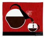 Diner Coffee Pot And Cup Red Pouring Fleece Blanket