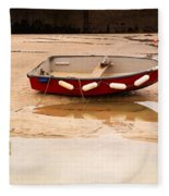 Dinghy At Low Tide In St Ives Cornwall Fleece Blanket