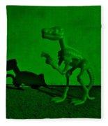 Dino Dark Green Fleece Blanket