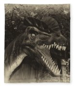 Dino's At The Zoo Come Here Cameraman In Heirloom Finish Fleece Blanket