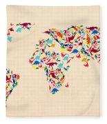Dinosaur Map Of The World  Fleece Blanket