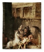 Diomedes Devoured By His Horses Fleece Blanket