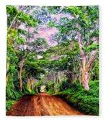 Dirt Road To Secret Beach On Kauai Fleece Blanket