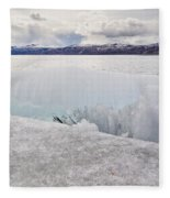 Disintegrating Candelized Melting Ice On Lake Shore Fleece Blanket