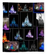 Disney Magic Kingdom Castle Collage Fleece Blanket