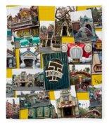 Disneyland Toontown Yellow Collage Fleece Blanket