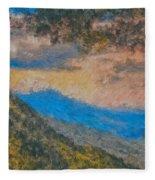 Distant Mountains - Digital Impression Paint Fleece Blanket