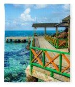 Dock And Tropical Water Fleece Blanket