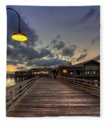 Dock Lights At Jekyll Island Fleece Blanket