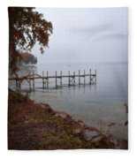 Dock On A Lake In Autumn Fleece Blanket