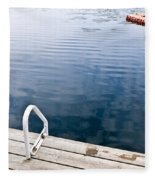 Dock On Calm Summer Lake Fleece Blanket