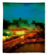 Dock On The East River - New York Fleece Blanket