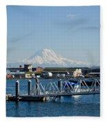 Dock View Of Mt. Rainier Fleece Blanket