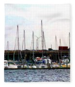 Docked Boats Norfolk Va Fleece Blanket