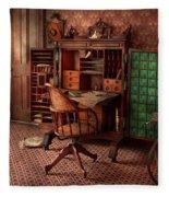 Doctor - Desk - The Physician's Office  Fleece Blanket