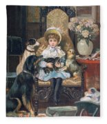 Doddy And Her Pets Fleece Blanket