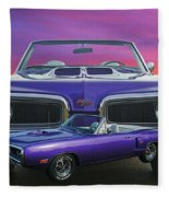 Dodge Rt Double Exposure Purple Sunset Fleece Blanket