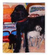 Dog At The Used Car Lot, Rex Gouache On Paper Fleece Blanket