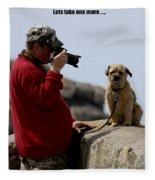 Dog Being Photographed Fleece Blanket