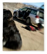 Dog In Front Of A Climbers Car Fleece Blanket