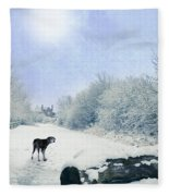 Dog Looking Back Fleece Blanket