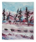 Dog Sled Fleece Blanket