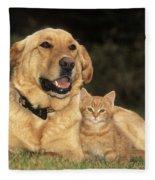Dog With Kitten Fleece Blanket