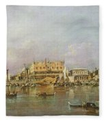 Doges Palace And View Of St. Marks Basin, Venice Oil On Canvas Fleece Blanket