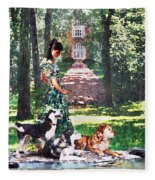 Dogs Lay At Her Feet Fleece Blanket