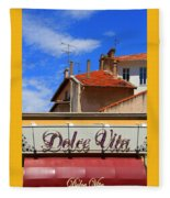 Dolce Vita Cafe In Saint-raphael France Fleece Blanket