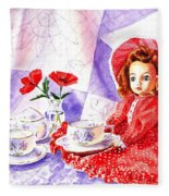 Doll At The Tea Party  Fleece Blanket