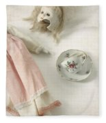 Doll With Tea Cup Fleece Blanket