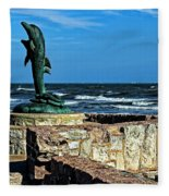 Dolphin Statue Fleece Blanket