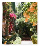 Dolphinfountain And Flowers - France Fleece Blanket