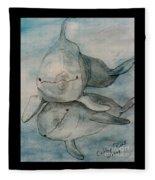 Dolphins Duo Underwater Art Cathy Peek Fleece Blanket
