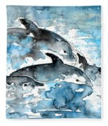 Dolphins In Gran Canaria Fleece Blanket