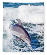 Dolphins Jumping Fleece Blanket