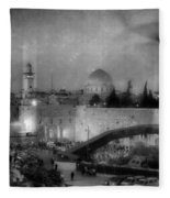 Dome Of The Rock -- Black And White Fleece Blanket