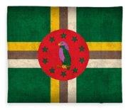 Dominica Flag Vintage Distressed Finish Fleece Blanket