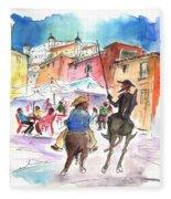Don Quijote And Sancho Panza Entering Toledo Fleece Blanket