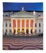 Dona Maria II National Theater At Night In Lisbon Fleece Blanket