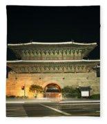 Dongdaemun Gate Landmark In Seoul South Korea Fleece Blanket